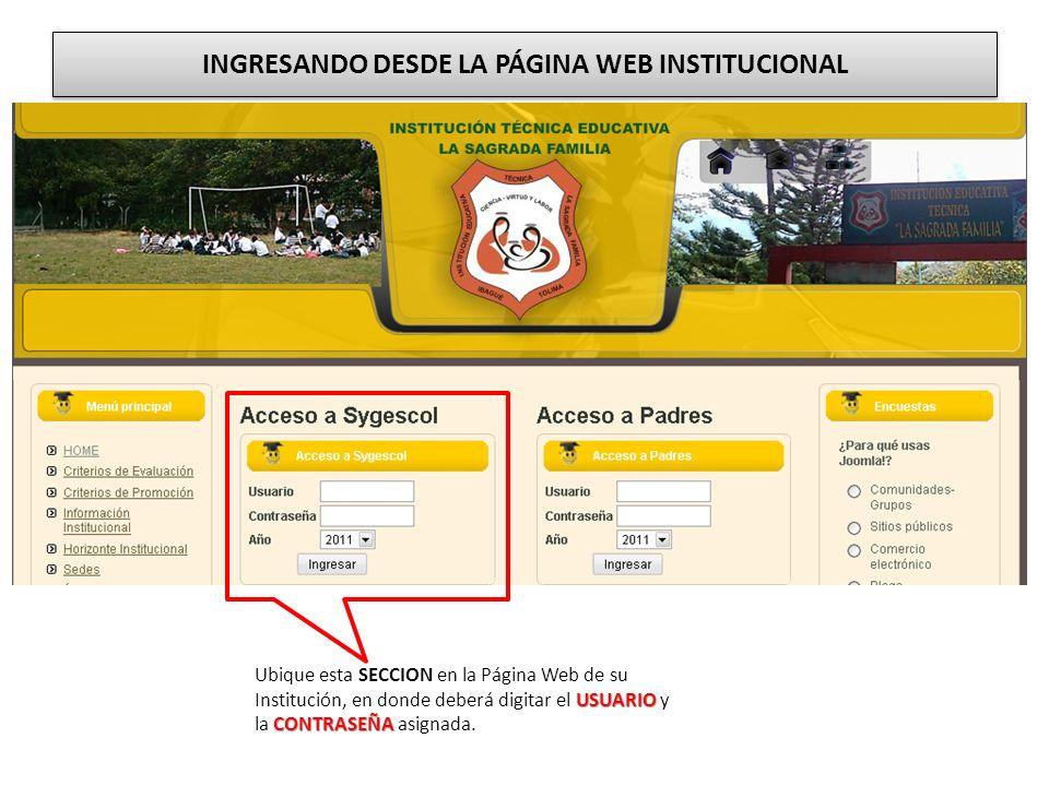 INGRESANDO DESDE LA PÁGINA WEB INSTITUCIONAL