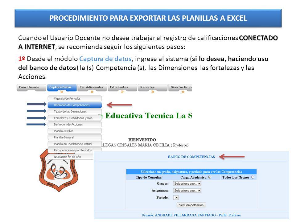 PROCEDIMIENTO PARA EXPORTAR LAS PLANILLAS A EXCEL