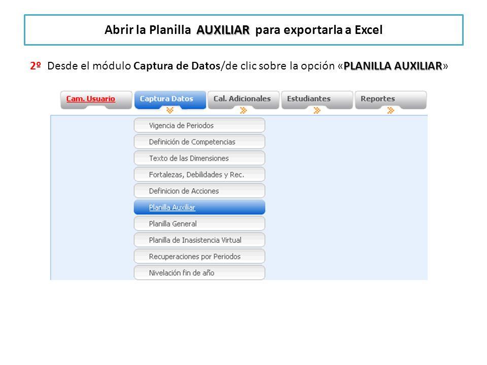Abrir la Planilla AUXILIAR para exportarla a Excel