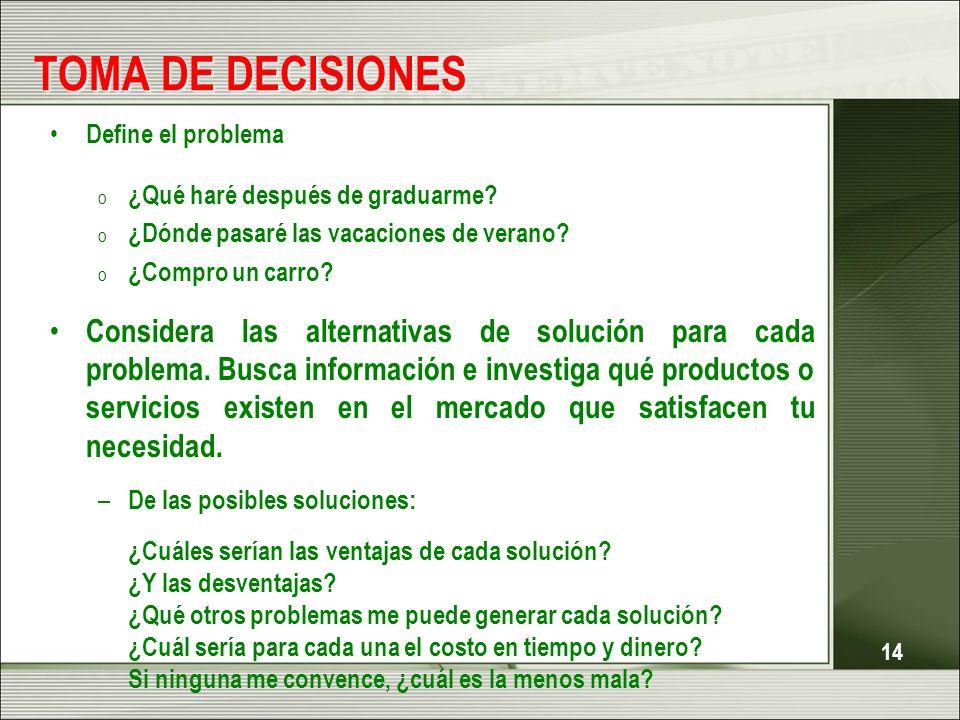 TOMA DE DECISIONES Define el problema ¿Qué haré después de graduarme