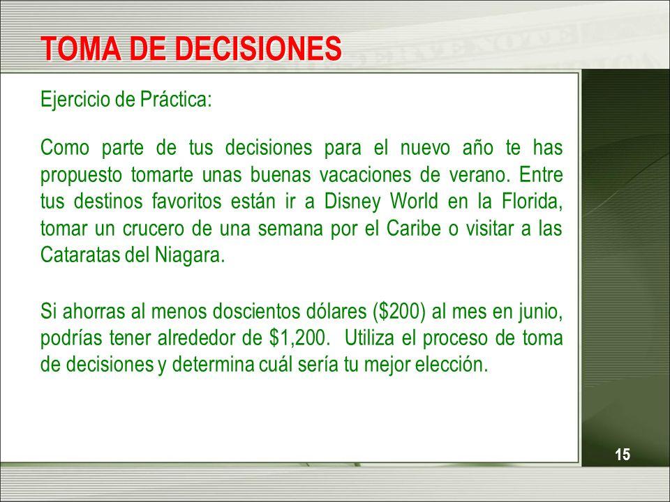TOMA DE DECISIONES Ejercicio de Práctica: