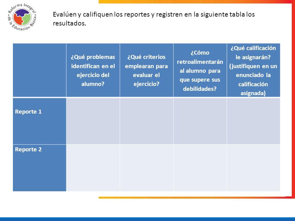 Evalúen y califiquen los reportes y registren en la siguiente tabla los resultados.