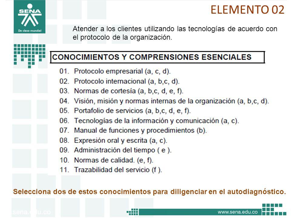 ELEMENTO 02 Atender a los clientes utilizando las tecnologías de acuerdo con el protocolo de la organización.