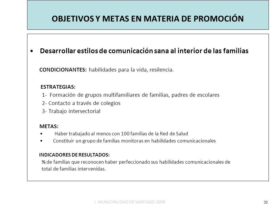 OBJETIVOS Y METAS EN MATERIA DE PROMOCIÓN