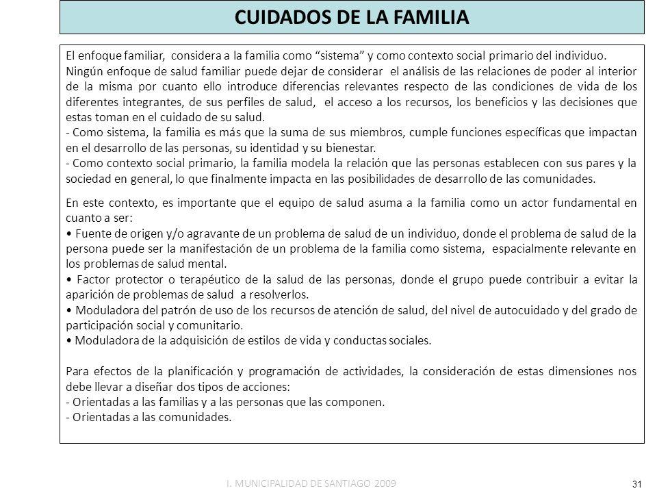CUIDADOS DE LA FAMILIA El enfoque familiar, considera a la familia como sistema y como contexto social primario del individuo.