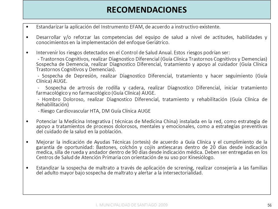 RECOMENDACIONES Estandarizar la aplicación del Instrumento EFAM, de acuerdo a instructivo existente.
