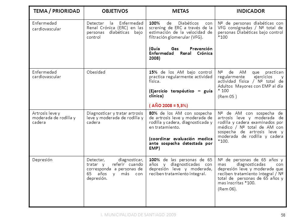 TEMA / PRIORIDAD OBJETIVOS METAS INDICADOR