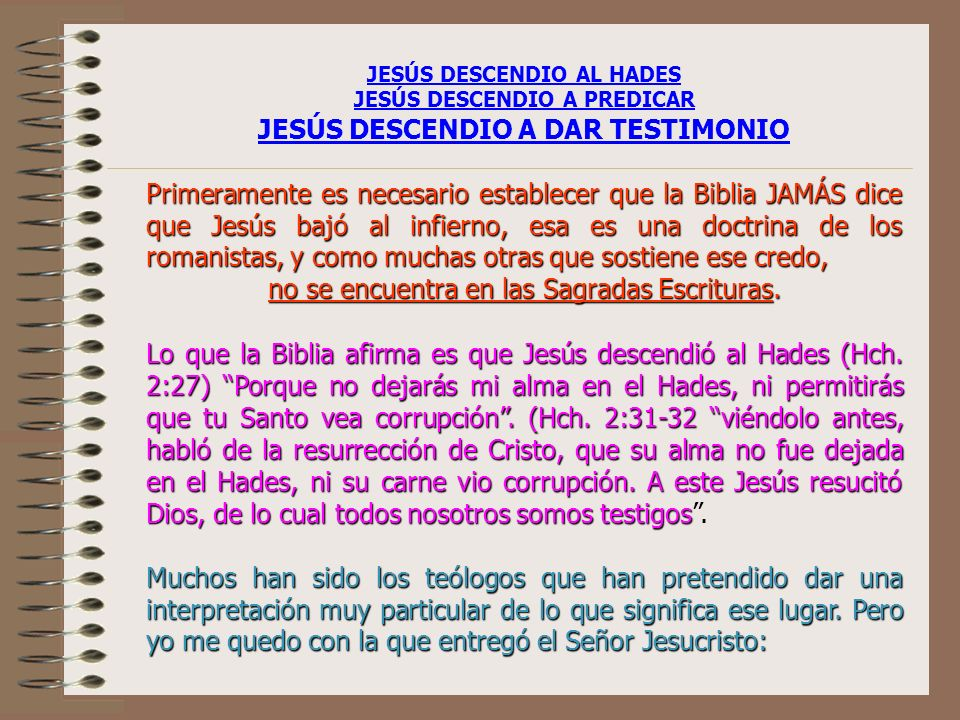 JESÚS DESCENDIO A DAR TESTIMONIO