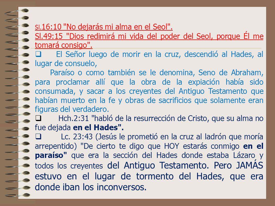 Sl.16:10 No dejarás mi alma en el Seol .