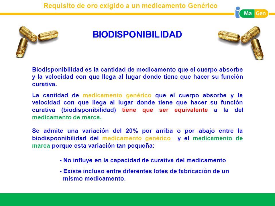 BIODISPONIBILIDAD Requisito de oro exigido a un medicamento Genérico