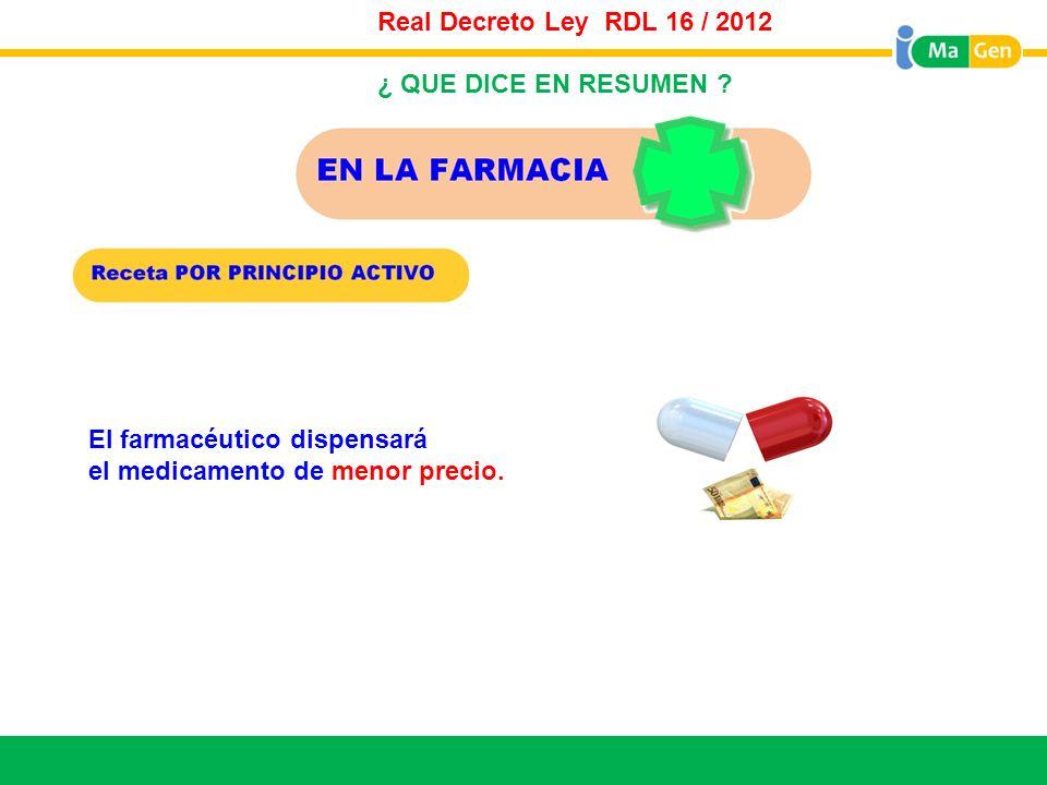 Real Decreto Ley RDL 16 / 2012 Titular. ¿ QUE DICE EN RESUMEN .