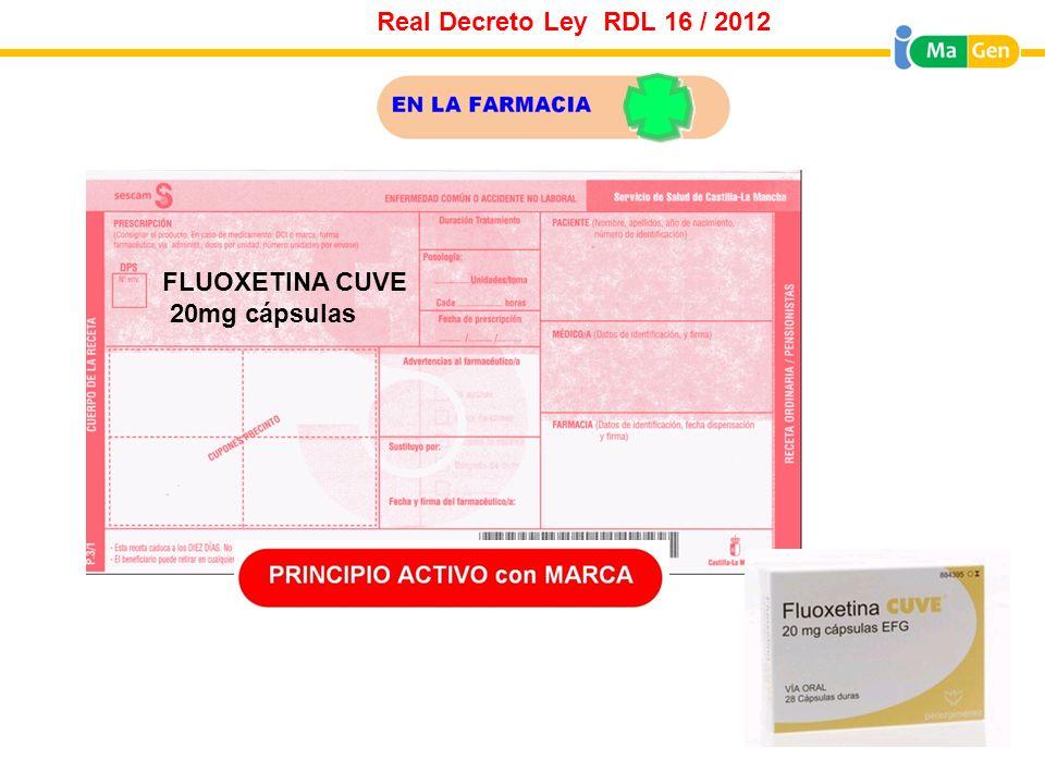 Real Decreto Ley RDL 16 / 2012 FLUOXETINA CUVE 20mg cápsulas