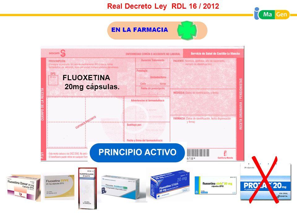 Real Decreto Ley RDL 16 / 2012 FLUOXETINA 20mg cápsulas.
