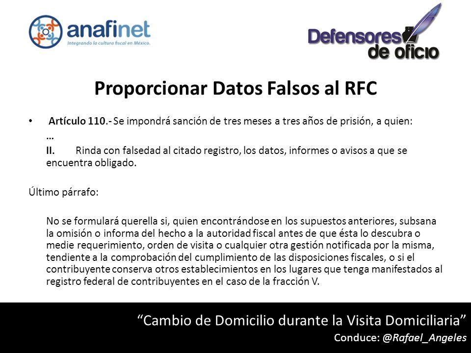 Proporcionar Datos Falsos al RFC