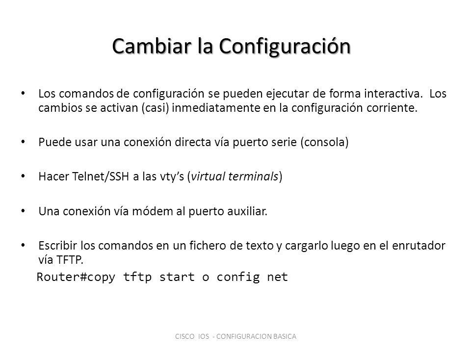 Cambiar la Configuración