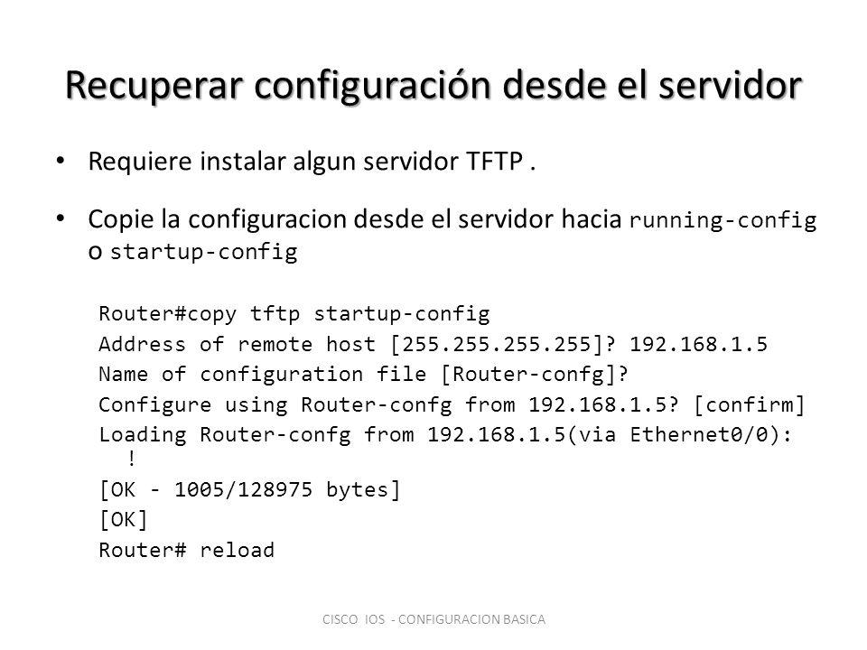 Recuperar configuración desde el servidor