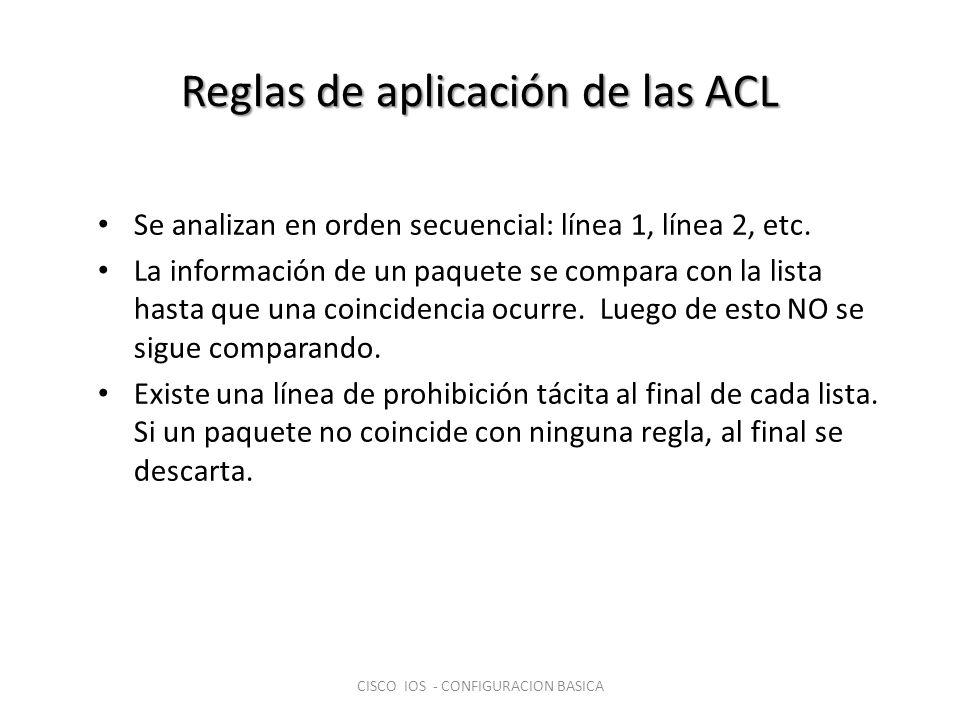 Reglas de aplicación de las ACL