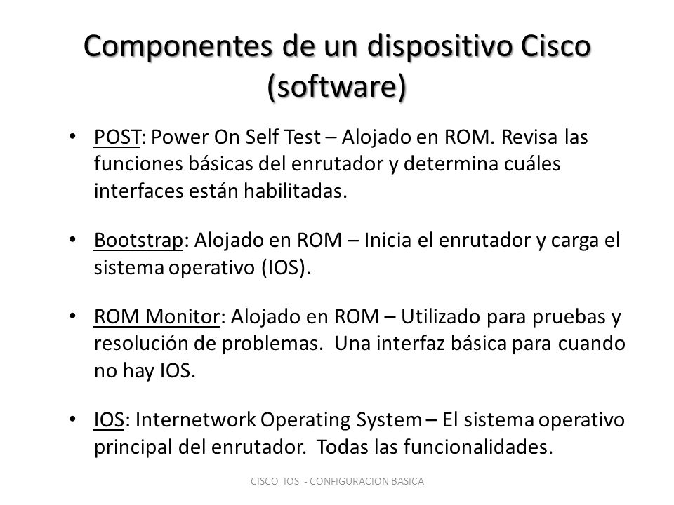 Componentes de un dispositivo Cisco (software)