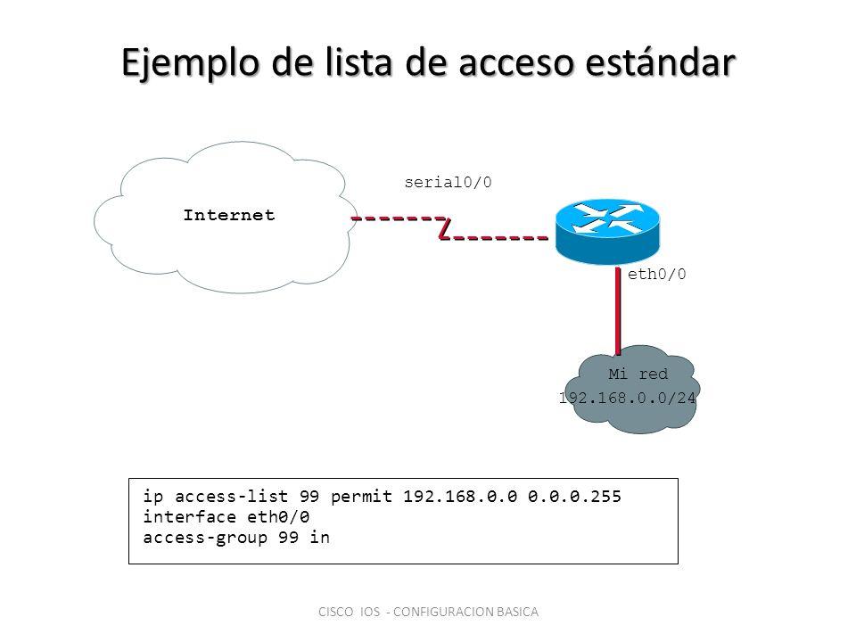 Ejemplo de lista de acceso estándar