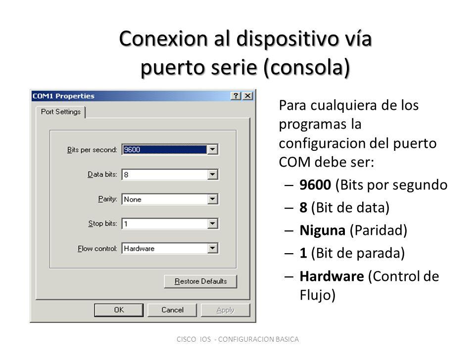 Conexion al dispositivo vía puerto serie (consola)
