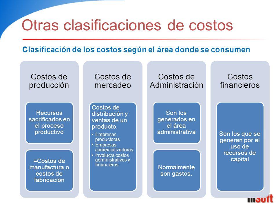 Otras clasificaciones de costos