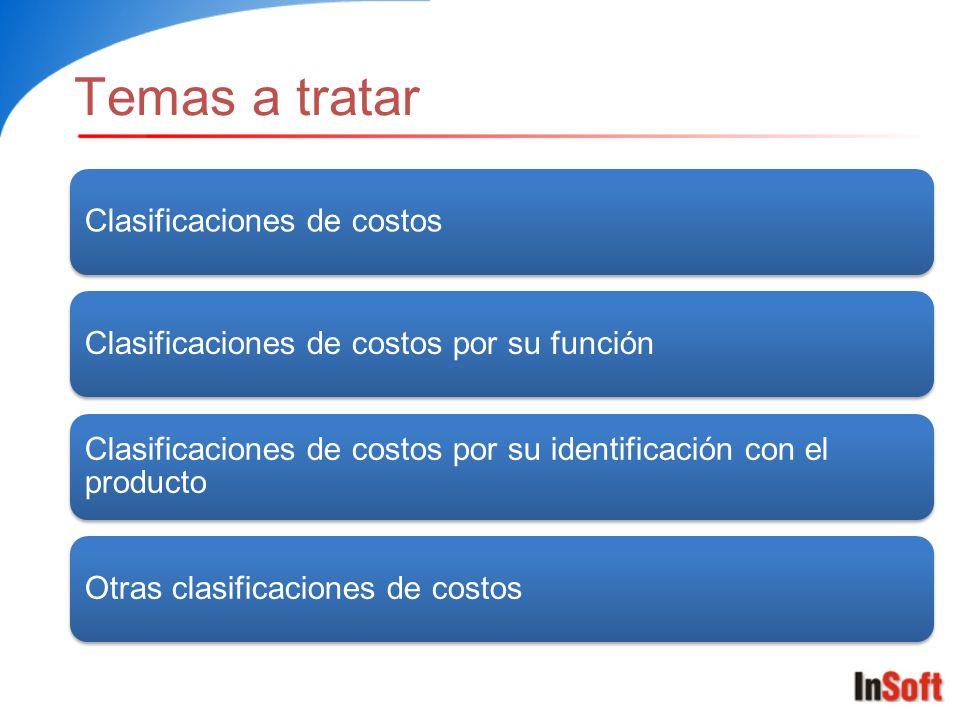 Temas a tratar Clasificaciones de costos