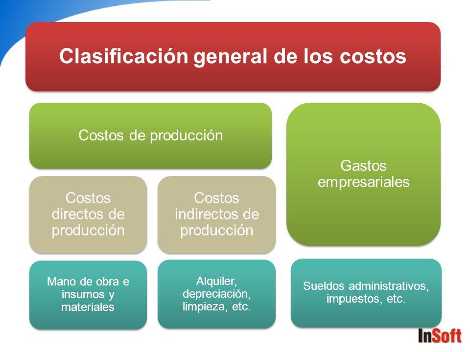 Clasificación general de los costos
