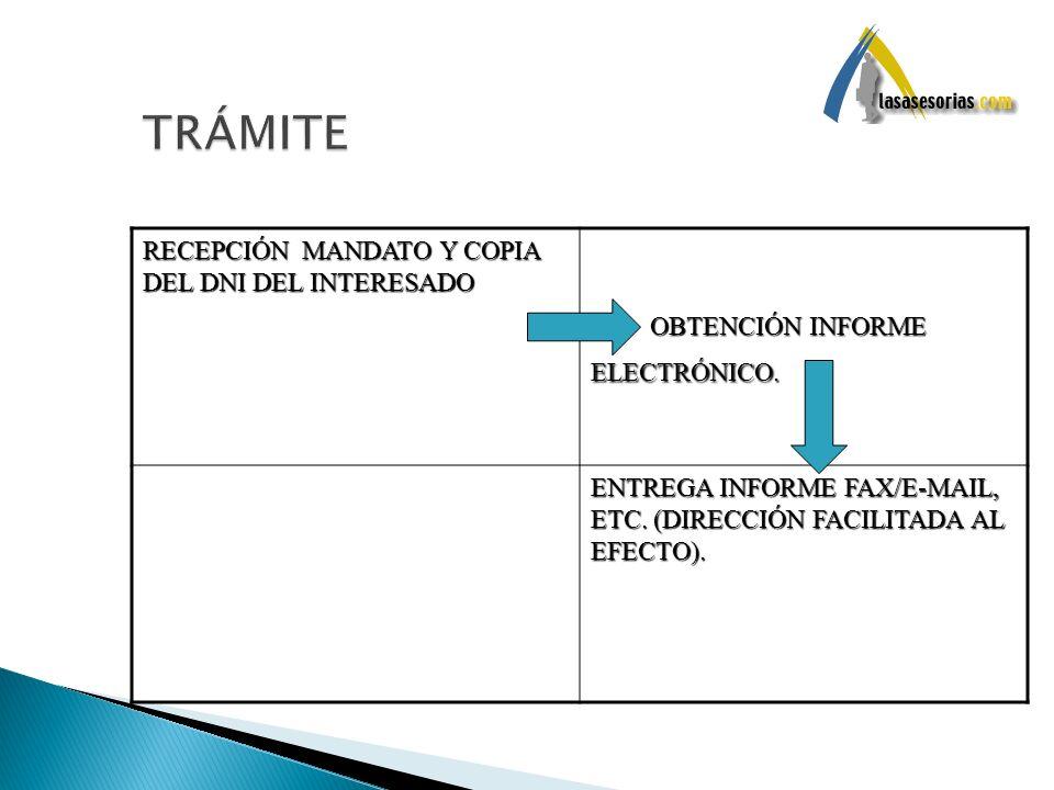 TRÁMITE RECEPCIÓN MANDATO Y COPIA DEL DNI DEL INTERESADO
