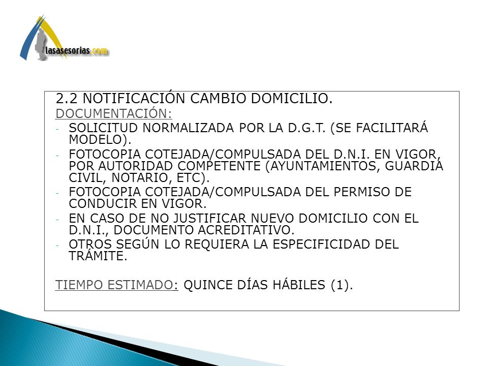 2.2 NOTIFICACIÓN CAMBIO DOMICILIO.