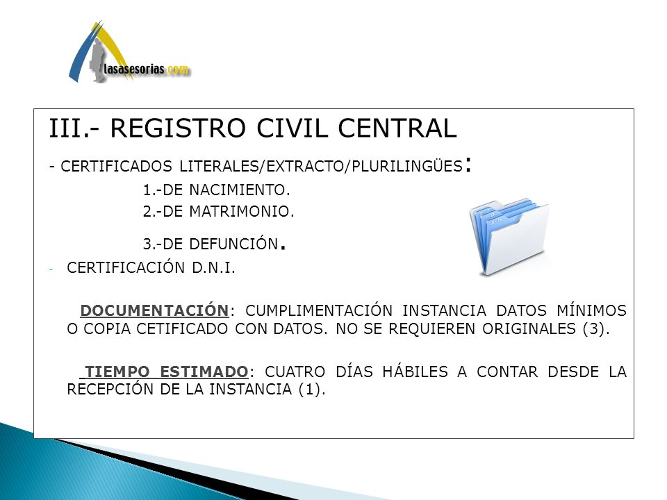 III.- REGISTRO CIVIL CENTRAL