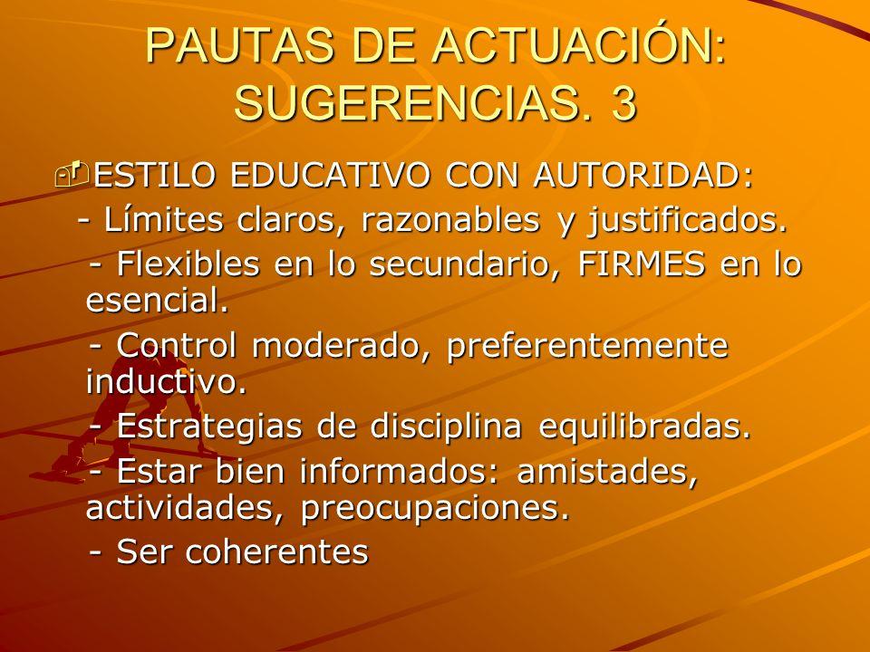 PAUTAS DE ACTUACIÓN: SUGERENCIAS. 3