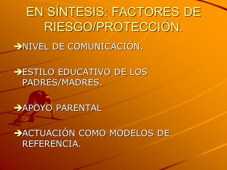 EN SÍNTESIS: FACTORES DE RIESGO/PROTECCIÓN.