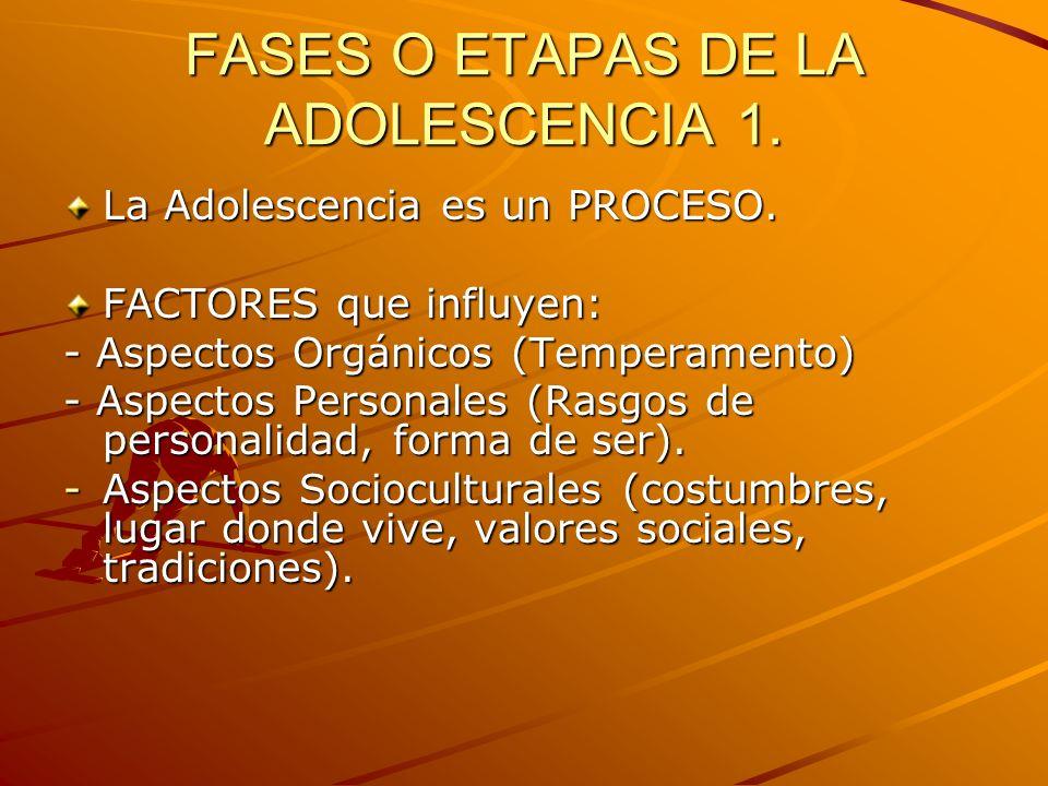 FASES O ETAPAS DE LA ADOLESCENCIA 1.