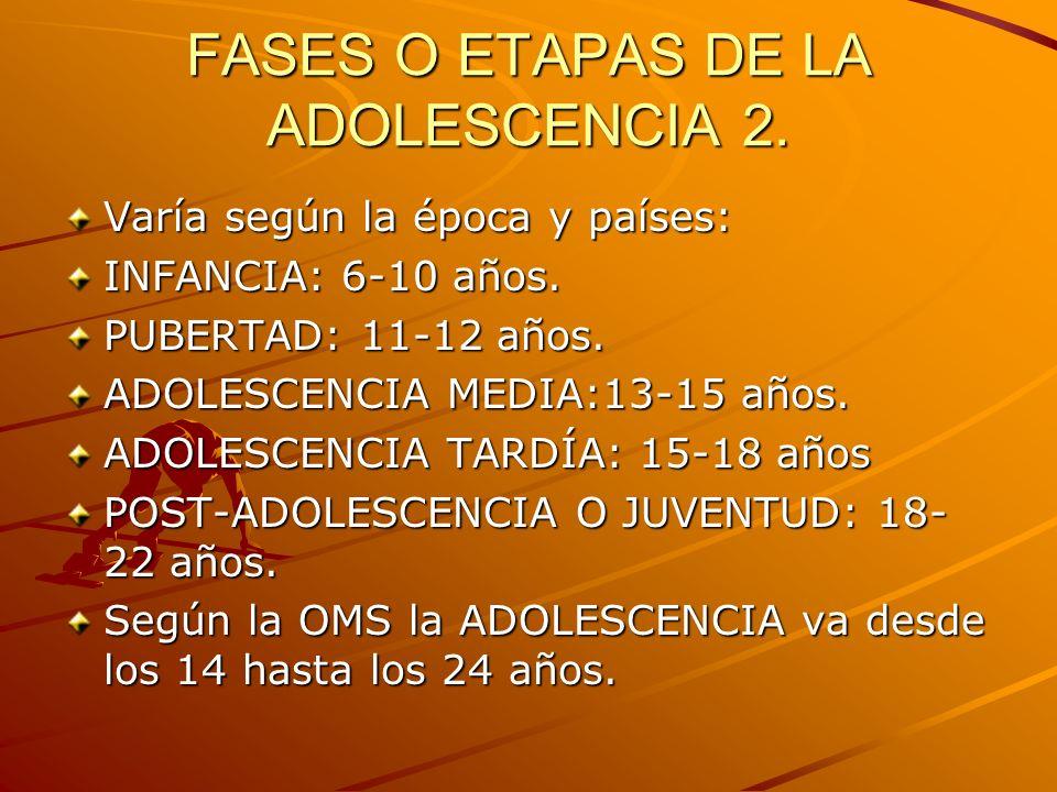 FASES O ETAPAS DE LA ADOLESCENCIA 2.