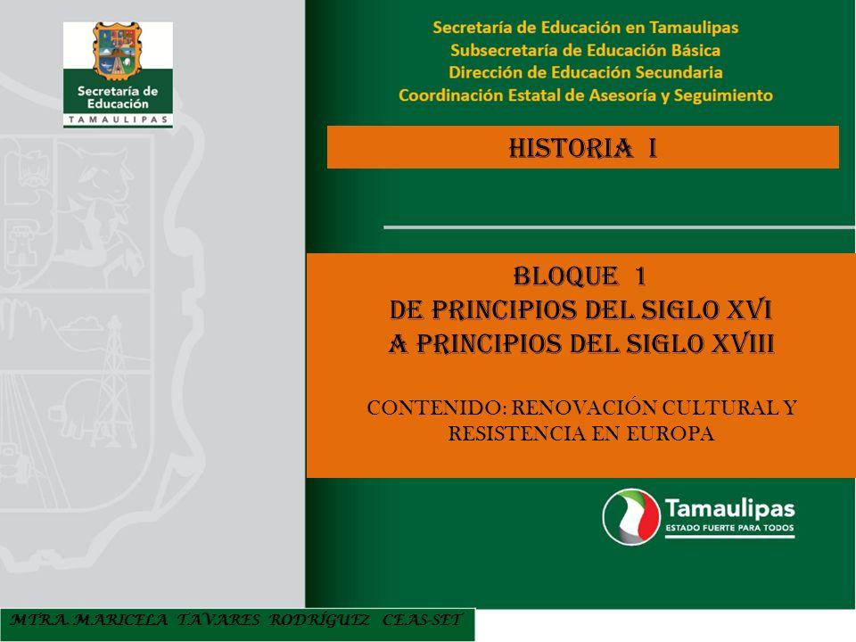 DE PRINCIPIOS DEL SIGLO XVI A PRINCIPIOS DEL SIGLO XVIII