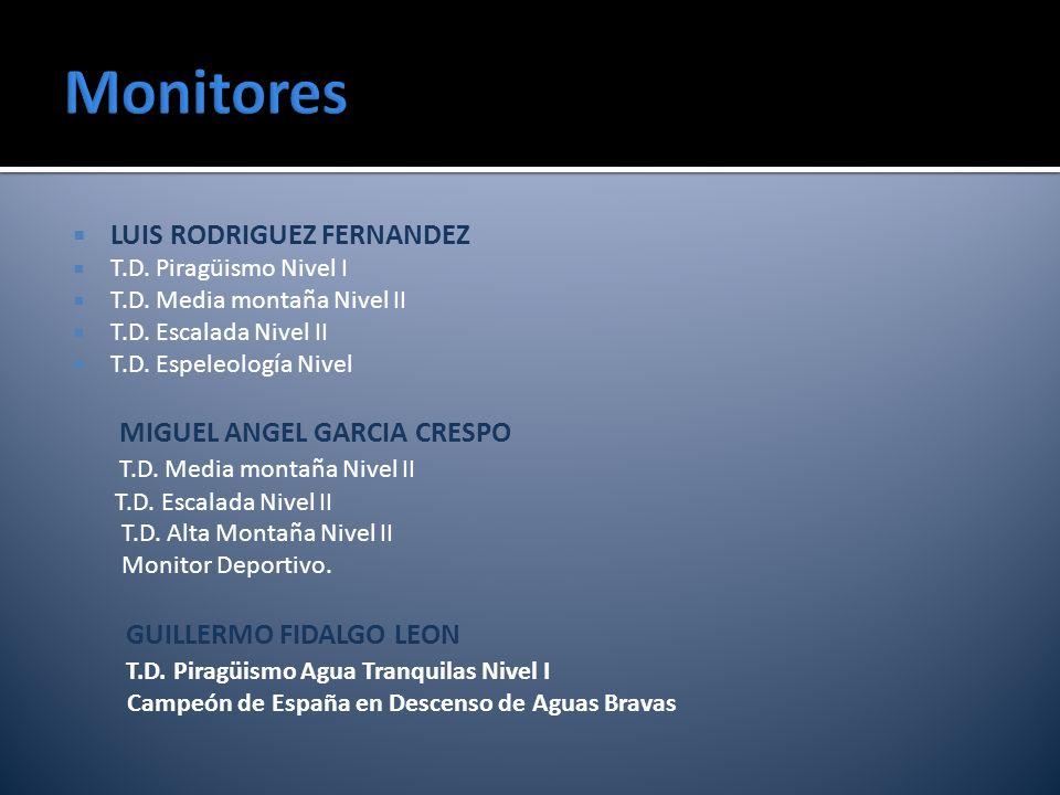 Monitores LUIS RODRIGUEZ FERNANDEZ MIGUEL ANGEL GARCIA CRESPO