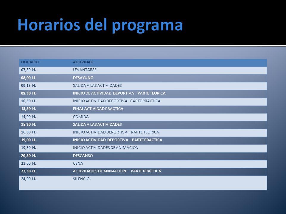 Horarios del programa HORARIO ACTIVIDAD 07,30 H. LEVANTARSE 08,00 H