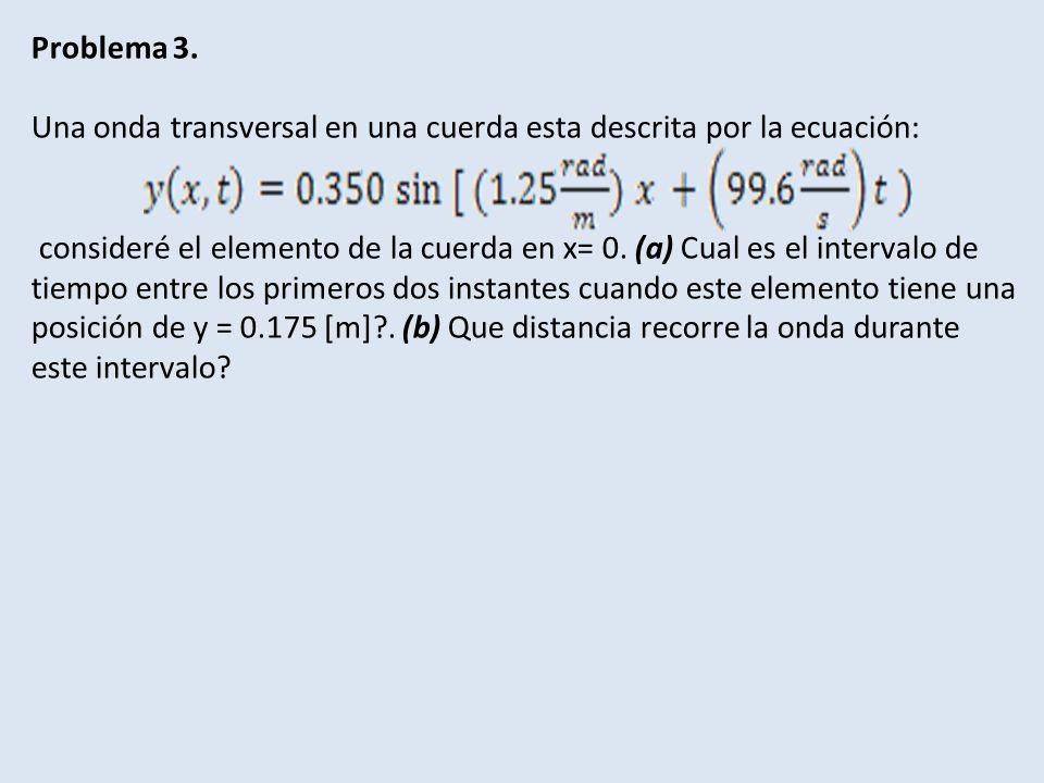 Problema 3. Una onda transversal en una cuerda esta descrita por la ecuación: