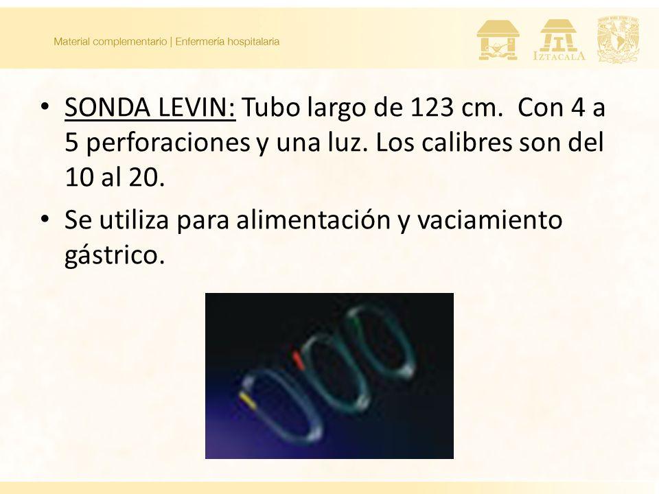 SONDA LEVIN: Tubo largo de 123 cm. Con 4 a 5 perforaciones y una luz