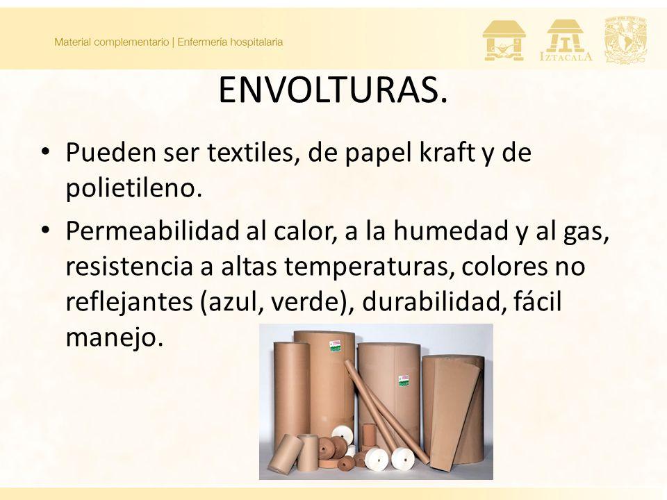 ENVOLTURAS. Pueden ser textiles, de papel kraft y de polietileno.