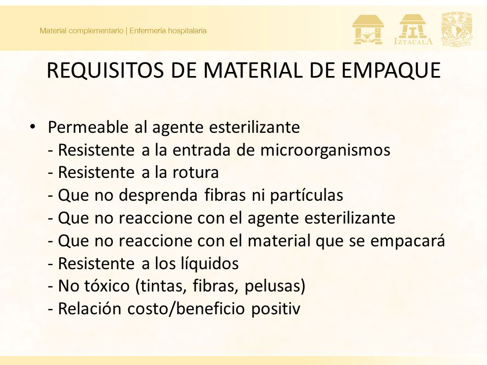 REQUISITOS DE MATERIAL DE EMPAQUE