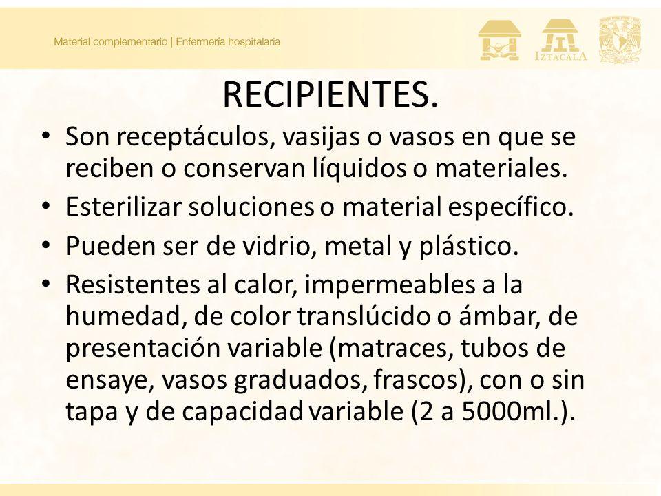 RECIPIENTES. Son receptáculos, vasijas o vasos en que se reciben o conservan líquidos o materiales.