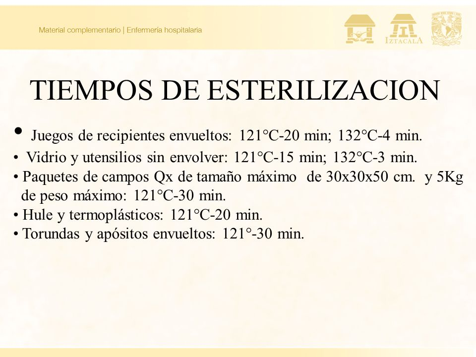 TIEMPOS DE ESTERILIZACION