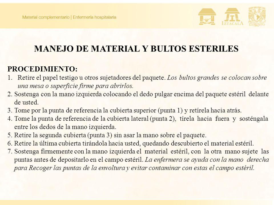 MANEJO DE MATERIAL Y BULTOS ESTERILES