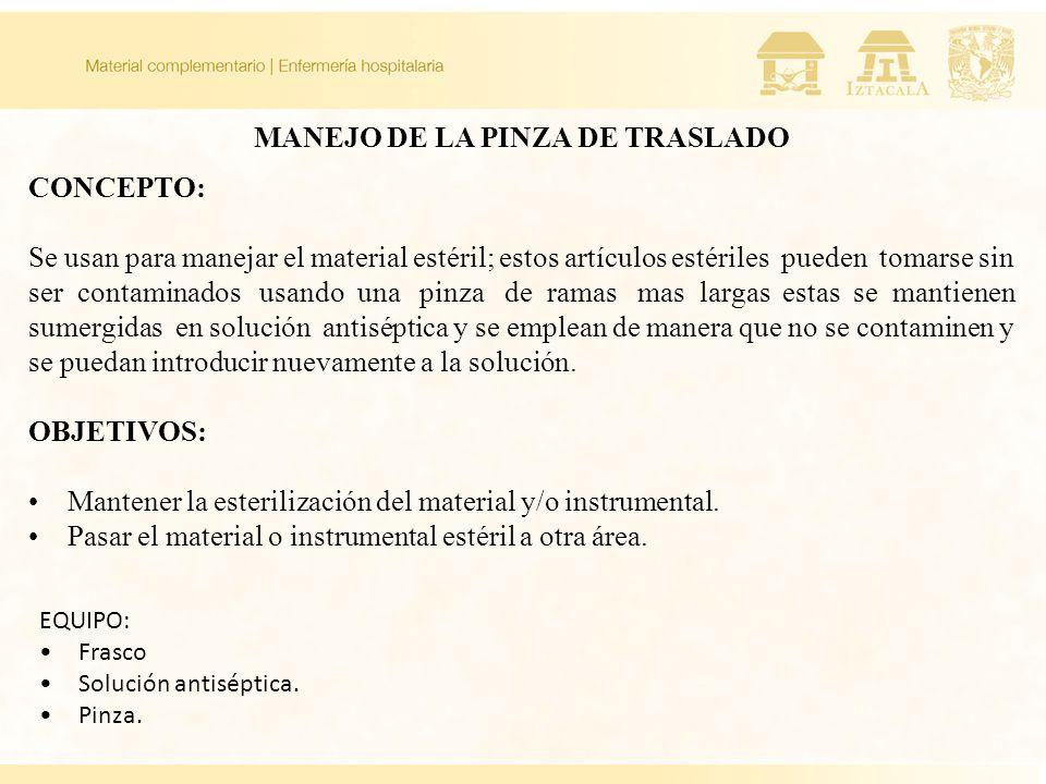 MANEJO DE LA PINZA DE TRASLADO CONCEPTO: