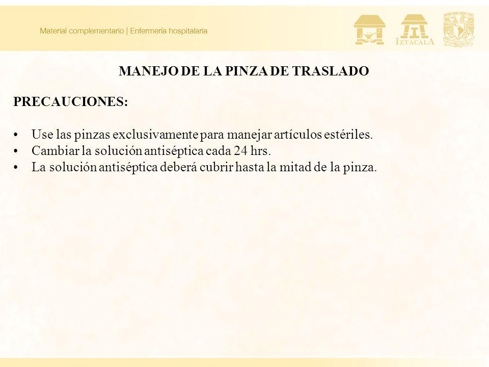 MANEJO DE LA PINZA DE TRASLADO
