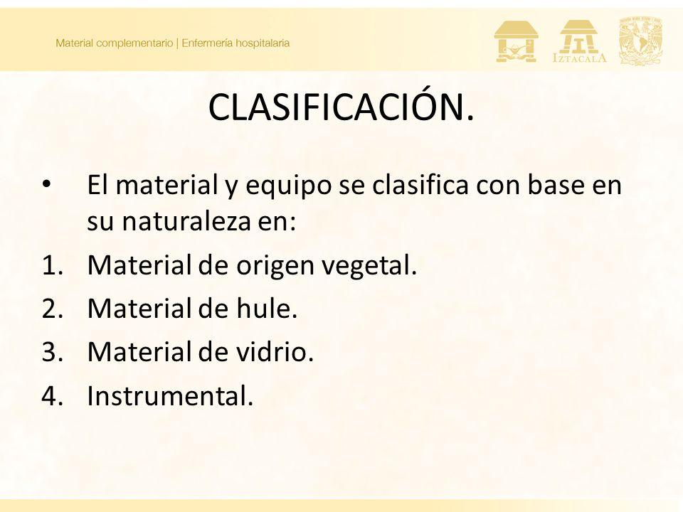 CLASIFICACIÓN. El material y equipo se clasifica con base en su naturaleza en: Material de origen vegetal.