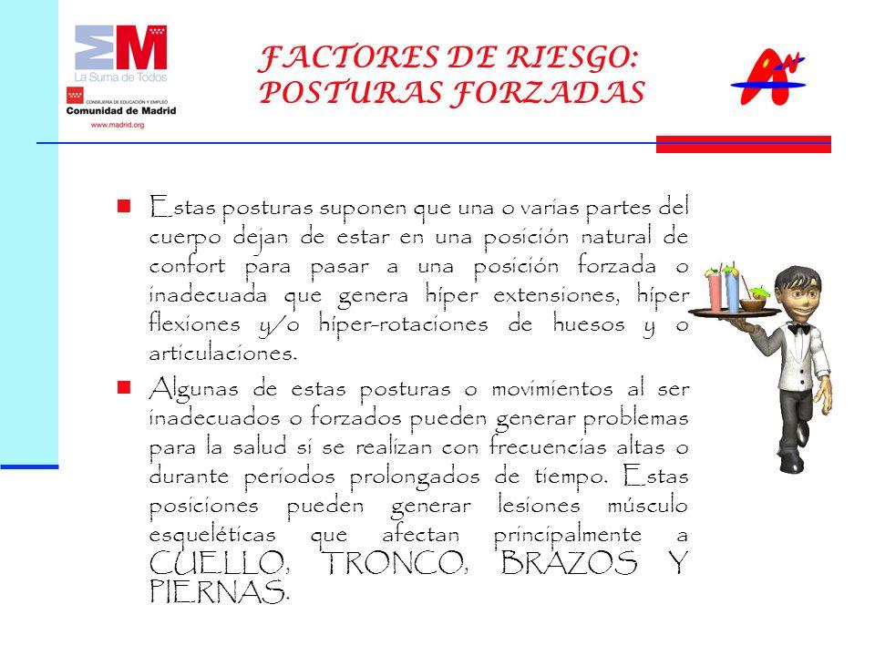 FACTORES DE RIESGO: POSTURAS FORZADAS