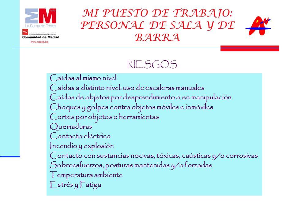 MI PUESTO DE TRABAJO: PERSONAL DE SALA Y DE BARRA