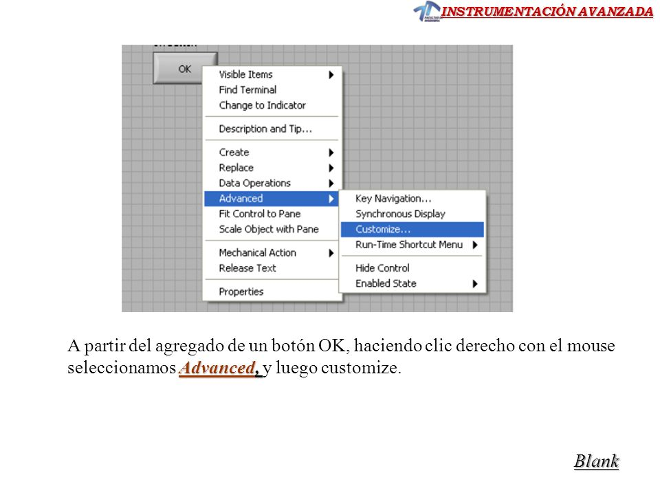 A partir del agregado de un botón OK, haciendo clic derecho con el mouse seleccionamos Advanced, y luego customize.